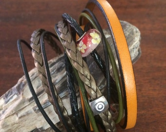 Handmade LeatherWrap Bracelet With Seven Different Styles of Leather  RM435