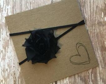Black MINI Shabby Flower Headband