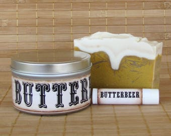 Butterbeer Gift Set - All Natural Butterbeer Lip Balm, Butterbeer Shea Butter Soap and Butterbeer Soy Candle