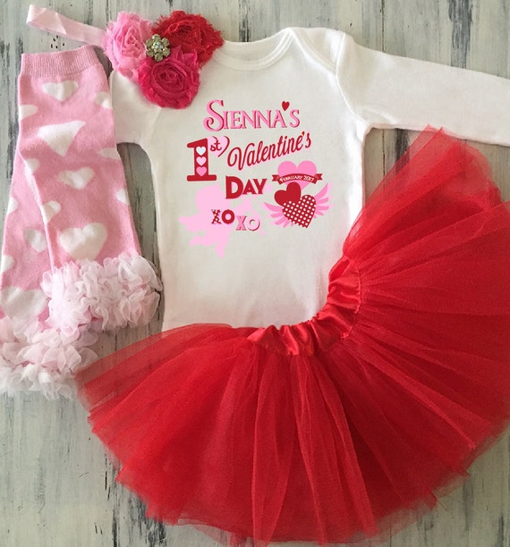 My First Valentines Day Onesie with Optional Red TUTU Babys