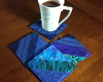 Quilted Coasters Set, Set of 4 Beverage Coasters, Wine Glass Coasters, Blue Aqua Coasters, Fabric Coasters, Handmade Coasters, Four Mug Rugs