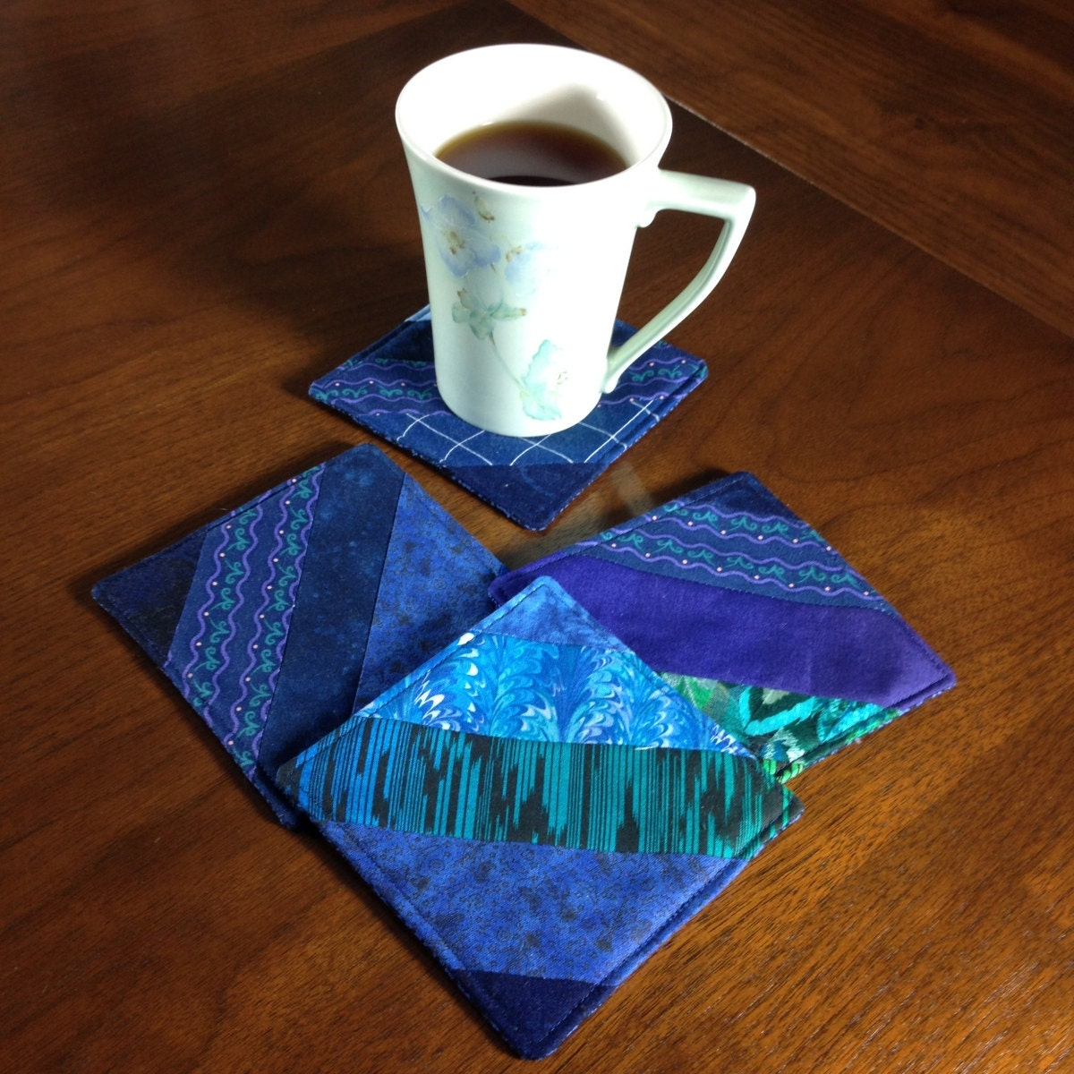 Quilted Coasters Set Set Of 4 Beverage Coasters Wine Glass