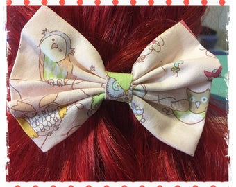 Owl Fabric Hair Bow