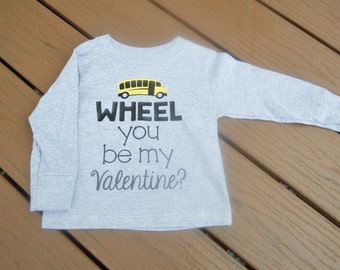 Valentine Shirt, Wheels on the Bus, Toddler Boy Shirt, Valentines Day Baby Outfit, Kids Valentines Day, First Valentines Day