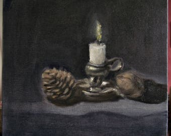 """SALE 50% OFF - Original still life oil painting of walnut, pine cone, candle holder and candle on Canvas - 7.8"""" x 7.8"""" - 19.8 cm x 19.8 cm"""