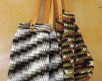 Tote Bag Hand Crocheted Made in USA Leather Straps