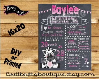 First Birthday Chalkboard 1st birthday zoo zebra girl chalk board photo prop customized first birthday poster digital file or printed