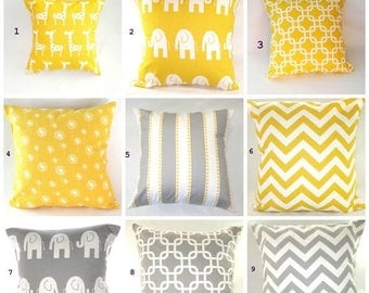CLEARANCE Pillow Cover, Pillow, Decorative Pillow, Decorative Throw Pillow, Throw Pillow, Nursery, Baby.Yellow Pillow, Gray Pillow