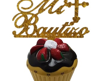 "3 pcs Mi Bautizo signs gold sparkle acrylic 5"" x 2.5"" cake top pick …"