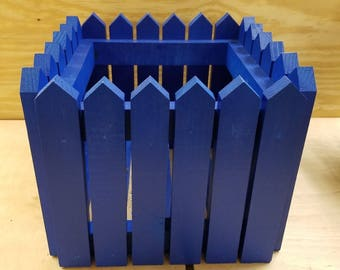 Handcrafted Picket Fence Planter - Blue