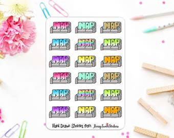 Nap Planner Stickers, Hand Drawn Stickers, Used with Erin Condren, Happy Planner, Personal Planner Stickers, Nap Time Planner Stickers