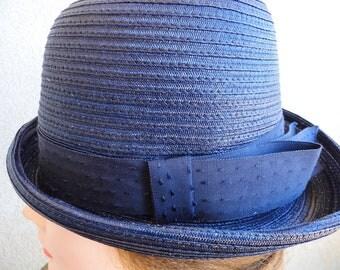 Navy Blue Straw Hat