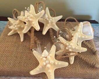 XO bouquets six starfish boutonnieres