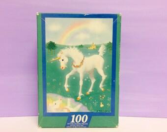 Unicorn Puzzle, Hallmark Puzzle, Jigsaw Puzzle, 1985 Puzzle, Rainbow Puzzle, Rainbows and Unicorns, 1980s Jigsaw Puzzles, Springbok Puzzle