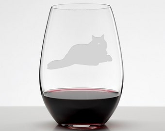 Rag doll Cat, Cat Lover Gift, Etched Stemless Wineglass