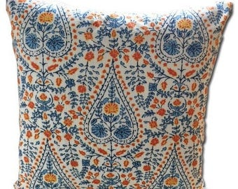 Decorative pillow cover in designer John Robshaw fabric 20x20