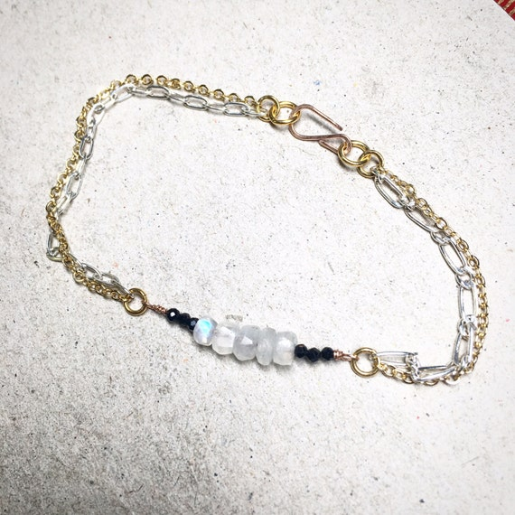 Moonstone and Spinel Gold Bracelet