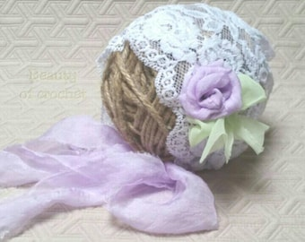 Newborn girl lace bonnet  photo outfit baby white purple bonnet Baby girl photo newborn hats flower bonnet Newborn props