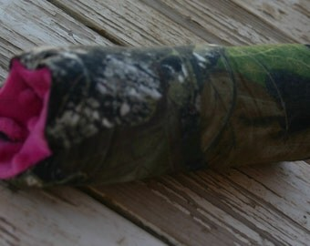 READY TO SHIP mossy oak  and pink minky padded handle cushion for infant car seat