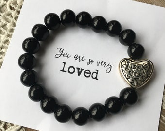 READY TO SHIP - Silver heart + black beaded bracelet, beaded stretch bracelet, bracelet stack, stackable, arm party, Love Squared Designs
