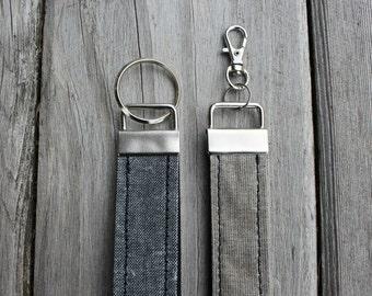 Key Chain, Key Fob, Key Holder, Key Ring, Key Lanyard, Key Wrist Strap, Waxed Canvas, Waxed Linen
