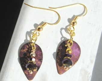 Gold and Purple Leaf Earrings