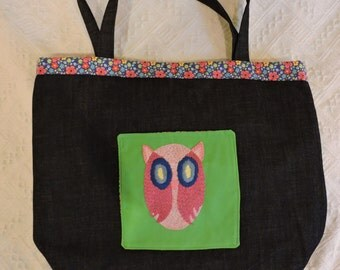 Denim Tote with Owl (M158)