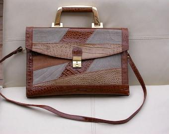 Made in Italy Vintage Original  Leather hand bag shouder bag gold handle bag light brown yellow leather bag retro