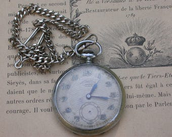 French antique silver pocket watch chrono working watch ornate watch face man pocket watch large watch  chain