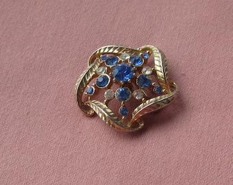 Vintage Coro Sapphire & Clear Rhinestone Brooch