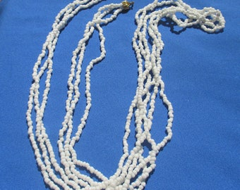 Vintage White Glass Beaded Three Strand Extra Long Necklace