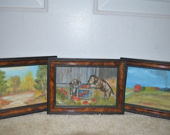 Small vintage oil paintings 4 x 6 Three of them- train , dogs with apples, pond in forest SO CUTE!!!