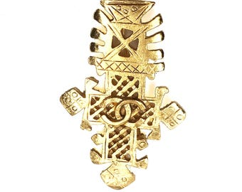 Chanel Vintage Gold Plated Tribal Long Brooch