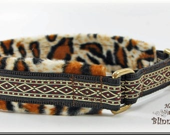 Dog collar AFRICA, Martingale, with decorativ braid, brown