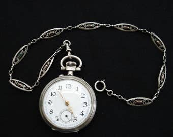 Antique French silver ( marked ) pocket watch montre gousset with silver ( marked ) pocket watch chain. ( 2 )