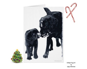 Black Lab Christmas Cards 10 - Labrador Christmas Cards - Black Lab Art - Christmas In July - Lab Dog - Labrador Retriever - Black Dog Art