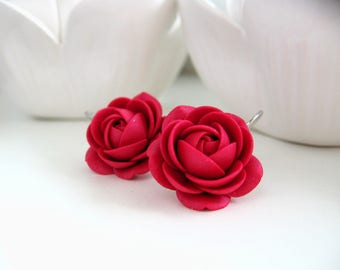 Polymer clay Ruby Wine Red-Pink rose flower Bridal Bridesmaids leverback earrings