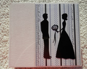 6x6 Ivory Black and Silvery Blue Wedding Scrapbook Photo Album