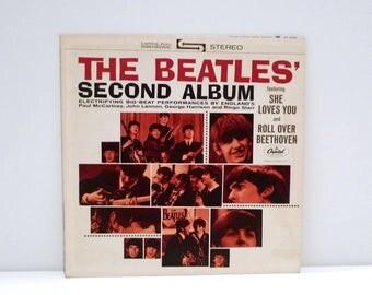 The Beatles Second Album Vinyl Record John Lennon Paul McCartney George Harrison Ringo Starr Vintage 1976 Capitol Orange Label She Love You
