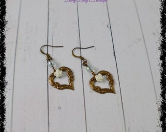 Vintage Heart Flower Earrings