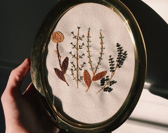 Hand Embroidered Brass & Stitches