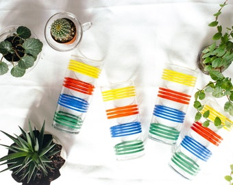 1950's Set of Four Striped Multicolor Drinking Glasses