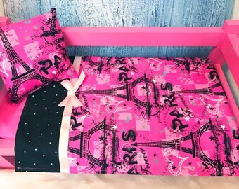 Doll Bedding, 18 Inch Doll Bedding, AG Bedding, Paris Print Bedding, Hot Pink, Includes Pillow & Sheet