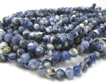 Sodalite Beads, Natural Sodalite 8mm Beads, Blue Gemstone Beads, 16 inch Strand, 8mm Blue Beads, Beading Supplies, Item 1183pm