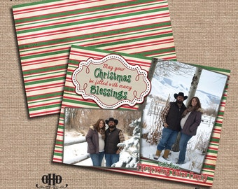 CUSTOM Christmas/Holiday Card - Rustic Red and Green Stripes