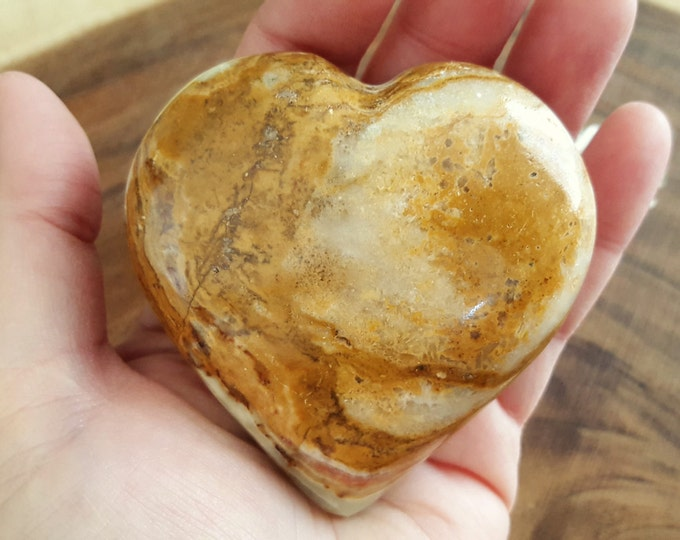 Pakistani Onyx Heart ~ One Reiki Infused gemstone heart approx 3 x 3 inches (PH11)