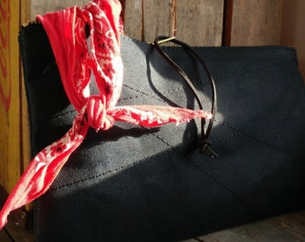 Zipper pouch in black waxed canvas with stitching detail - Volcano Goods