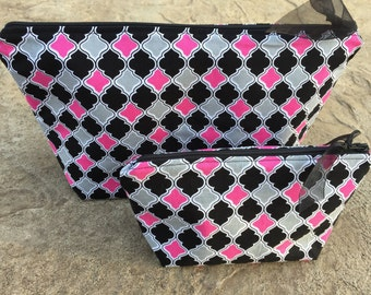 Large Makeup Bag Gift Set for Women, Cosmetic Bag Set, Choice of Size & Fabric, Black and Pink Make Up Bag Small Girl Gift Set for Her