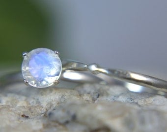 MOONSTONE- Genuine Faceted Rainbow Moonstone Sterling Engagement Ring & Wedding Band Set!