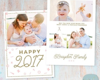 New Year Card 2017 - Gold Glitter- Photoshop template - AL003 - INSTANT DOWNLOAD